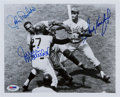 Baseball Collectibles:Photos, 1990's Sandy Koufax, John Roseboro & Juan Marichal SignedPhotograph. ...