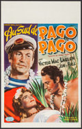 "Movie Posters:Adventure, South of Pago Pago (United Artists, Late 1940s). First Post WarRelease Belgian (14.5"" X 22.5""). Adventure.. ..."