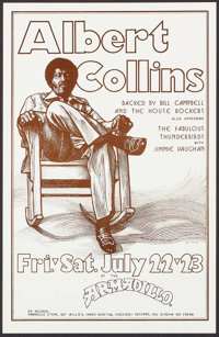 "Albert Collins at the Armadillo by Guy Juke (Armadillo, 1977). Concert Window Card (11"" X 17""). Blues"