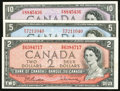 Canadian Currency: , BC-38b $2 1954. BC-39b $5 1954. BC-40b $10 1954. ... (Total: 3notes)