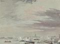 Fine Art - Work on Paper:Watercolor, Joseph Pennell (American, 1857-1926). The Harbor and the Statueof Liberty. Watercolor on paper laid on board. 9-3/8 x 1...