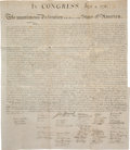Miscellaneous:Broadside, William J. Stone for Peter Force: The Declaration ofIndependence. ...