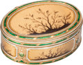 Silver Smalls:Snuff Boxes, A Les Freres Toussaint German Enameled 18K Gold Snuff Box, Hanau,Germany, circa 1780. Marks: LFT, K (crowned), (erroneo...