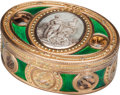 Silver Smalls:Snuff Boxes, A Swiss Enameled Vari-Colored Gold and Moss Agate Snuff Box,Geneva, Switzerland, circa 1780. Marks: B (crowned),(crown...