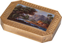 A François Joanin Swiss Gold and Enamel Snuff Box, Geneva, Switzerland, circa 1815 Marks: FJ (laurel, (