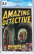 Golden Age (1938-1955):Horror, Amazing Detective Cases #14 Spokane Pedigree (Atlas, 1952) CGC VF+8.5 White pages....