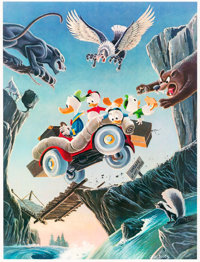 Carl Barks Leaving Their Cares Behind Signed Limited Edition Lithograph Print #46/350 (Another Rainbow, 1995)