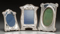 Silver Holloware, British:Holloware, Three Edwardian Silver Frames, circa 1906-1909. Marks: (lionpassant), (anchor), (various date and maker marks). 10-1/2 inch...(Total: 3 Items)