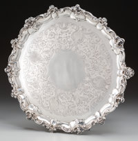 A John Hutson George III Silver Footed Salver, London, England, circa 1793 Marks: (lion passant), (crowned leopard