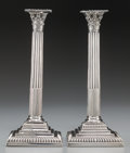 Silver Holloware, British:Holloware, A Pair of George III Weighted Silver Corinthian Column-FormCandlesticks, attributed to John Carter II, London, England, cir...(Total: 2 Items)