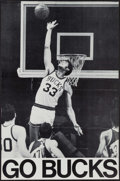 "Basketball Collectibles:Photos, Early 1970's Lew Alcindor ""Go Bucks"" Vintage Oversized Poster...."