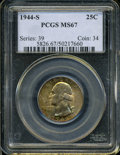 Washington Quarters: , 1944-S 25C MS67 PCGS. Iridescent orange, green-gold, and crimsoncolors endow both sides of this gorgeously preserved Supe...