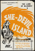"Movie Posters:Adventure, She-Devil Island (Classic Pictures, R-1940s). One Sheet (28"" X41""). Adventure. ..."