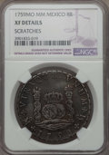 """Mexico, Mexico: Ferdinand VI """"Pillar"""" 8 Reales 1759 Mo-MM XF Details(Scratches) NGC,..."""