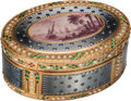 Silver Smalls:Snuff Boxes, A Swiss Enameled 18K Gold Snuff Box with Harbor Scene, circa 1790.Marks: T (crowned), J (crowned), (indecipherable ...