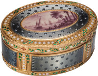 A Swiss Enameled 18K Gold Snuff Box with Harbor Scene, circa 1790 Marks: T (crowned), J (cro