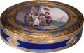 Silver Smalls:Snuff Boxes, A Mark Cellier Swiss 18K Gold and Enameled Snuff Box, Geneva,Switzerland, circa 1800. Marks: MC. 0-3/4 h x 2-3/4 w x1-...