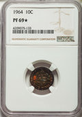 Proof Roosevelt Dimes: , 1964 10C PR69 ★ NGC. NGC Census: (2592/0 and 90/0*). PCGSPopulation: (801/81 and 90/0*). Mi...