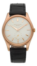 Timepieces:Wristwatch, Patek Philippe Ref. 2526 18k Rose Gold Self-Winding Wristwatch With First Series Enamel Dial Circa 1950's. ...