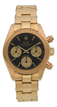 Rolex Ref. 6263 Gold Oyster Superlative Chronometer Officially Certified Cosmograph With Rare Sigma Dial, circa 1980&...