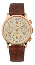 Timepieces:Wristwatch, Rolex Ref. 2508 Very Fine & Rare Pink Gold Antimagnetic Chronograph Formerly In The Mondani Collection, circa 1939. ...