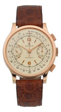Rolex Ref. 2508 Very Fine & Rare Pink Gold Antimagnetic Chronograph Formerly In The Mondani Collection, circa 1939