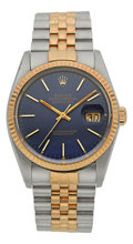 Timepieces:Wristwatch, Rolex Ref. 16000 Gent's Two Tone Oyster Perpetual Datejust, circa 1985. ...