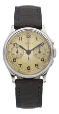 Timepieces:Wristwatch, Lemania Vintage Steel Two Register Chronograph. ...