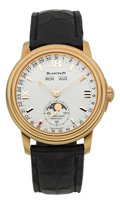 "Timepieces:Wristwatch, Blancpain Very Fine Ref. 2763 Selfwinding Gold ""Hundred Hours"" Calendar With Moon Phases. ..."