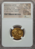 Ancients:Byzantine, Ancients: Constans II & Constantine IV (AD 654-668). AV solidus(4.35 gm). NGC MS 4/5 - 3/5, clipped, graffito....
