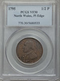 Colonials, 1795 1/2 P Washington North Wales Halfpenny, Plain Edge, One Star at Each Side of Harp VF30 PCGS. PCGS Population: (12/61)....
