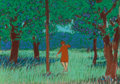 Fine Art - Work on Paper:Drawing, William Anzalone (American, b. 1935). Lady Walking through theWoods, circa 1980. Watercolor and pastel on board. 11-1/2...