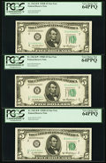 Small Size:Federal Reserve Notes, Fr. 1963-B* $5 1950B Federal Reserve Star Notes. Three Examples. PCGS Very Choice New 64PPQ.. ... (Total: 3 items)