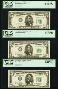 Fr. 1963-B* $5 1950B Federal Reserve Star Notes. Three Examples. PCGS Very Choice New 64PPQ
