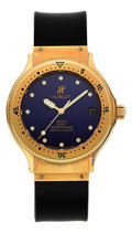 Timepieces:Wristwatch, Hublot MDM 18K Gold Automatic Professional Diving Wristwatch Ref. 1553.3. ...