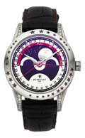 Timepieces:Wristwatch, Perrelet Unusual Stainless Steel Large Moonphase Wristwatch With Diamonds & Rubies Ref. A1040/5. ...
