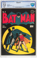 Golden Age (1938-1955):Superhero, Batman #9 (DC, 1942) CBCS Restored FN/VF 7.0 Slight to Moderate (P) Off-white to white pages....