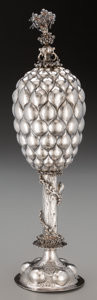 Silver Holloware, Continental:Holloware, A Georg Koler Silver Pineapple-Form Standing Cup and Cover,Nuremberg, Germany, mid-17th century. Marks: X, N, 13. 17in...