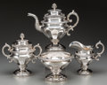 Silver Holloware, American:Coin Silver, A Four-Piece Gerardus Boyce Coin Silver Tea Set, New York, New York, circa 1825-1845. Marks: G. BOYCE, N.Y; G.B.; (cresc... (Total: 4 Items)