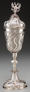 Silver Holloware, Continental:Holloware, A Russian Silver Standing Covered Cup with Imperial Eagle Finial,Moscow, Russia, circa 1761. Marks: (BA), (Moscow city mark...
