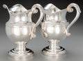 Silver Holloware, American:Coin Silver, A Pair of Fletcher and Gardiner Coin Silver Water Pitchers,Philadelphia, Pennsylvania, circa 1825. Marks: F&G. 10inche... (Total: 2 Items)