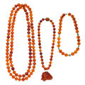 Estate Jewelry:Necklaces, Amber, Turquoise, Vermeil, Base Metal Necklaces. ... (Total: 3Items)
