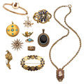 Estate Jewelry:Lots, Victorian Diamond, Multi-Stone, Freshwater Pearl, Seed Pearl, Enamel, Gold, Gold-Filled Jewelry. ... (Total: 12 Items)
