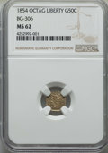 California Fractional Gold , 1854 50C Liberty Octagonal 50 Cents, BG-306, R.4, MS62 NGC. NGCCensus: (8/10). PCGS Population: (25/44). ...