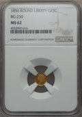 California Fractional Gold , 1856 25C Liberty Round 25 Cents, BG-230, Low R.4, MS62 NGC. NGCCensus: (8/15). PCGS Population: (31/73). ...
