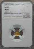 California Fractional Gold , Undated 25C Liberty Round 25 Cents, BG-221, R.3, MS63 NGC. NGCCensus: (14/7). PCGS Population: (57/46). ...