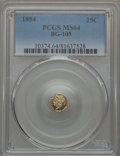 California Fractional Gold , 1854 25C Liberty Octagonal 25 Cents, BG-105, R.3, MS64 PCGS. PCGSPopulation: (72/25). NGC Census: (16/14). ...