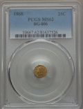 California Fractional Gold , 1868 25C Liberty Round 25 Cents, BG-806, R.3, MS62 PCGS. PCGSPopulation: (10/151). NGC Census: (4/52). ...