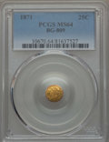 California Fractional Gold , 1871 25C Liberty Round 25 Cents, BG-809, Low R.4, MS64 PCGS. PCGSPopulation: (28/31). NGC Census: (9/10). ...
