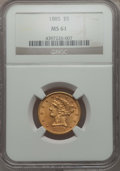 1885 $5 MS61 NGC. NGC Census: (327/755). PCGS Population: (147/631). Mintage 601,400. ...(PCGS# 8367)
